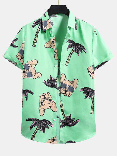 Palm Tree Dog Pattern Vacation Shirt - Mint Green L