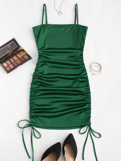 ZAFUL Enrugado Cami Vestido De Cetim - Verde Escuro S
