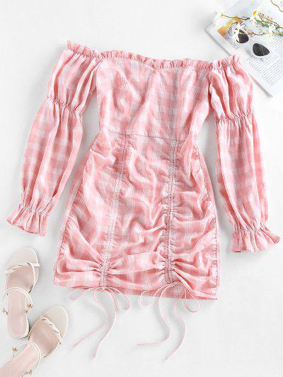 ZAFUL Off Shoulder Cinched Plaid Mini Dress - Pink S