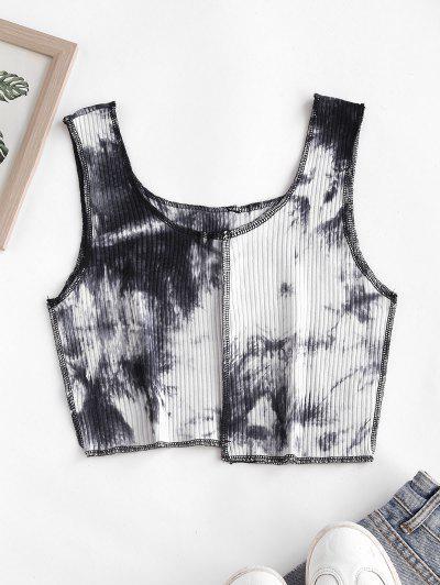 Rib-knit Tie Dye Topstitching Cropped Tank Top - Gray M