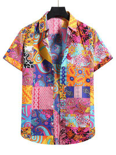 Paisley Floral Patchwork Short Sleeve Vacation Shirt - Multi-b M