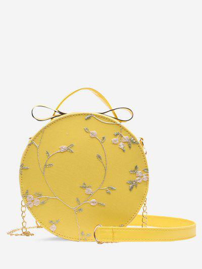 Embroidery Floral Lace Canteen Bag - Sun Yellow
