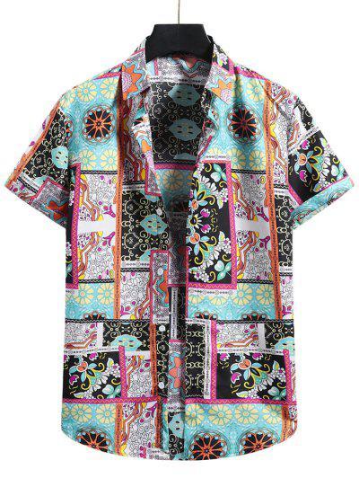 Floral Patchwork Print Short Sleeve Shirt - Multi-a S