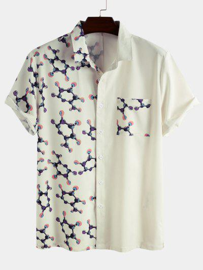 Molecular Structure Print Button Up Pocket Shirt - White Xl