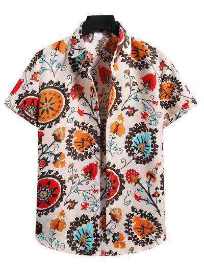 Camisa De Manga Corta De Estampado De Flores - Blanco Almendra 2xl