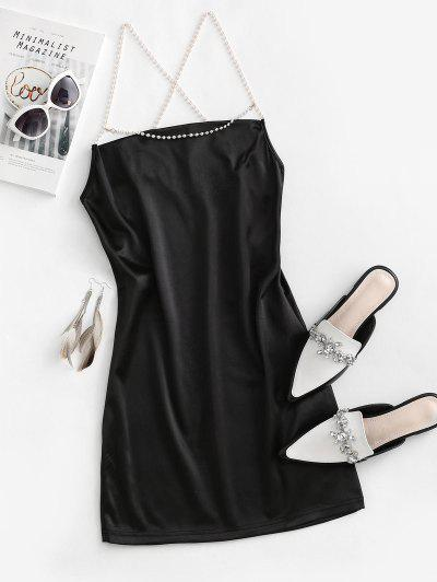 Cowl Neck Faux Pearl Strap Crisscross Dress - Black L