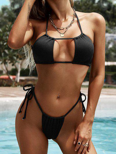 ZAFUL Ribbed Crisscross Back Tie Cutout Bikini Swimwear - Black S