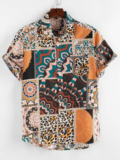 ZAFUL Bohemian Leopard Patchwork Print Pocket Shirt - Light Coffee L