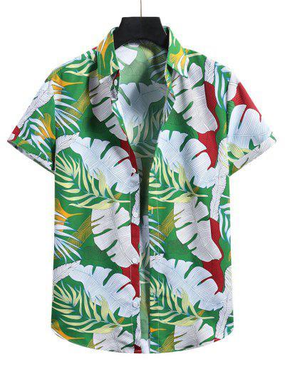열 대 잎 휴가 셔츠 - 토끼풀 녹색 특대