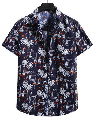 Palm Tree Short Sleeve Vacation Shirt - Denim Dark Blue S