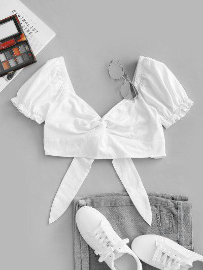 ZAFUL Front Twist Off The Shoulder Back Tie Cropped Blouse - White S