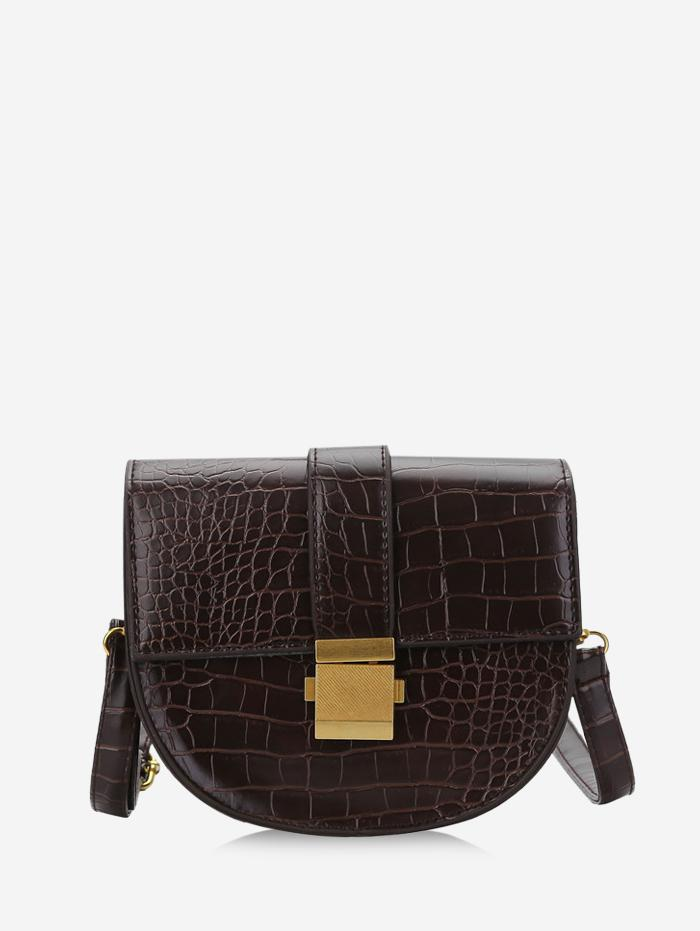 Textured Crossbody Saddle Bag