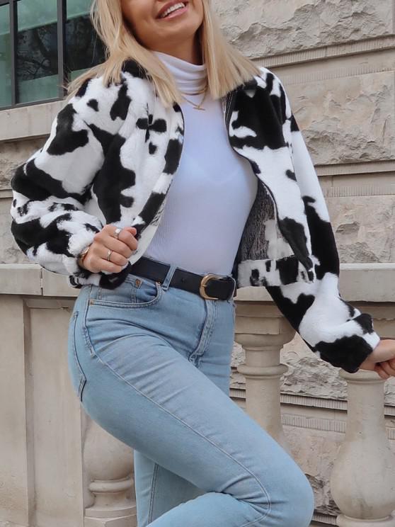 lady ZAFUL Plush Cow Print Drop Shoulder Zipper Coat - MULTI-A M