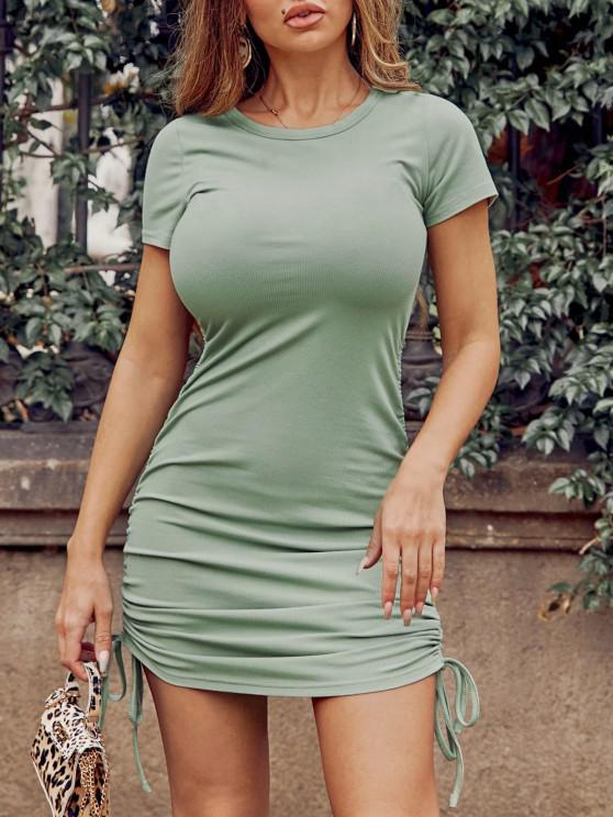 ZAFUL Ribbed Cinched Bodycon Mini Dress - اخضر فاتح S