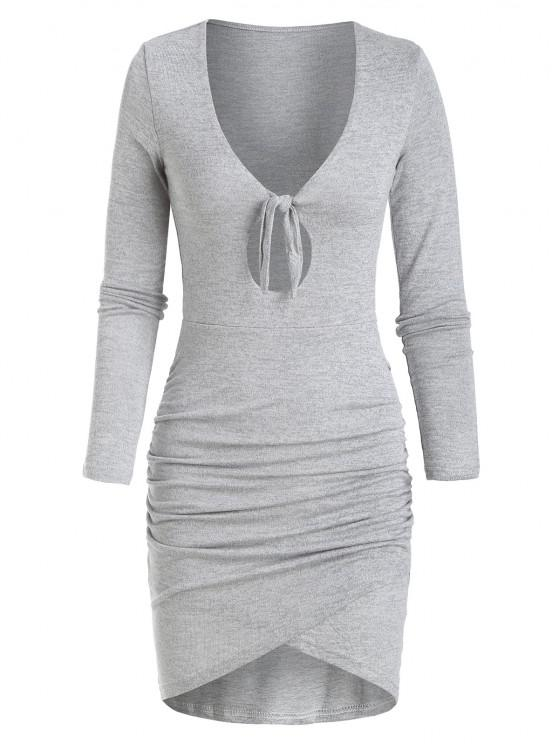 fashion Knitted Tied Keyhole Tulip Dress - LIGHT GRAY L