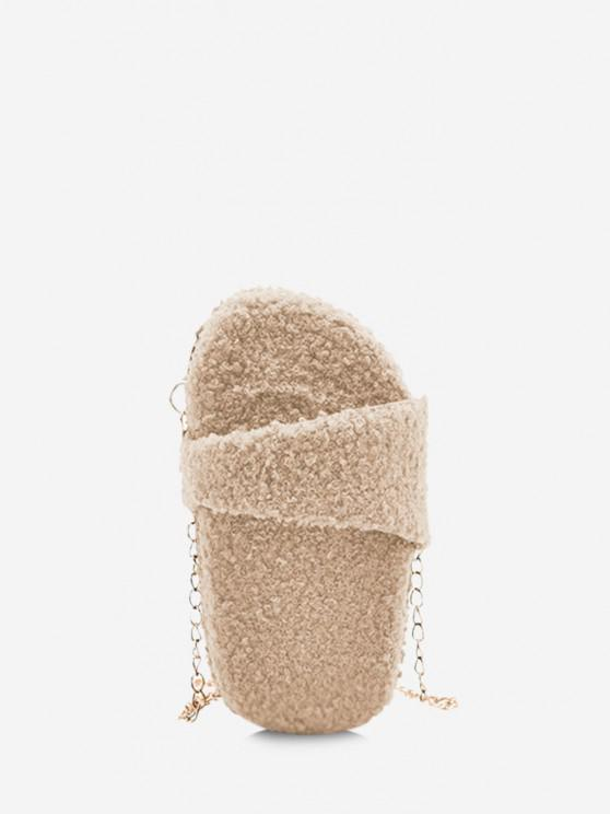 affordable Slipper Shape Fluffy Chain Crossbody Bag - BEIGE
