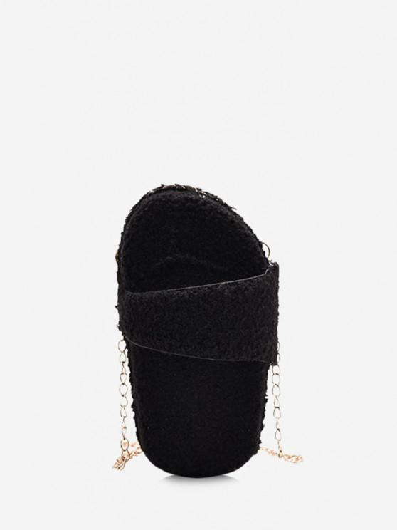 outfits Slipper Shape Fluffy Chain Crossbody Bag - BLACK