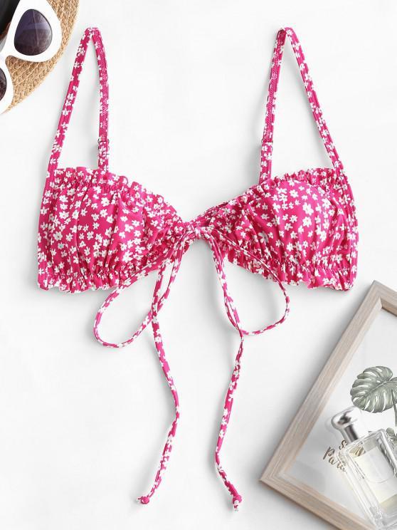 women ZAFUL Ditsy Print Ruffle Tie Front Bikini Top - LIGHT PINK M