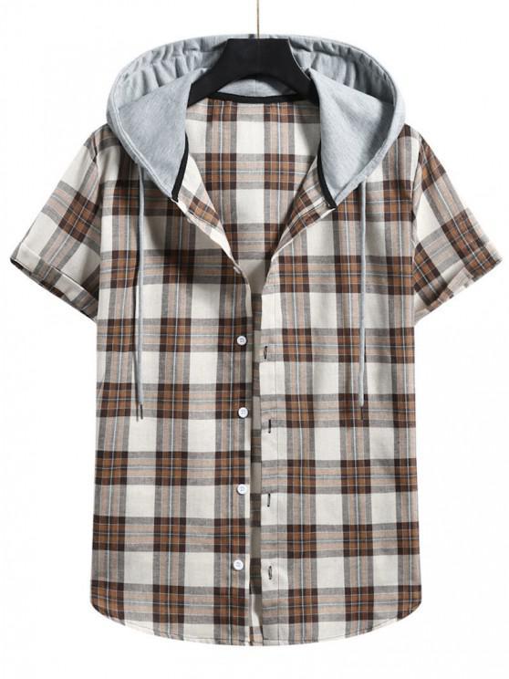 shop Plaid Colorblock Hood Short Sleeve Shirt - CAMEL BROWN XL