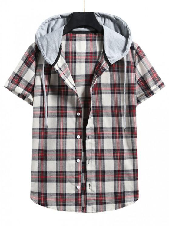 Plaid Colorblock Hood Short Sleeve Shirt - كستنائي أحمر L