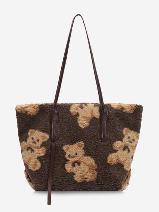 Bear Pattern Fluffy Shoulder Bag - قهوة