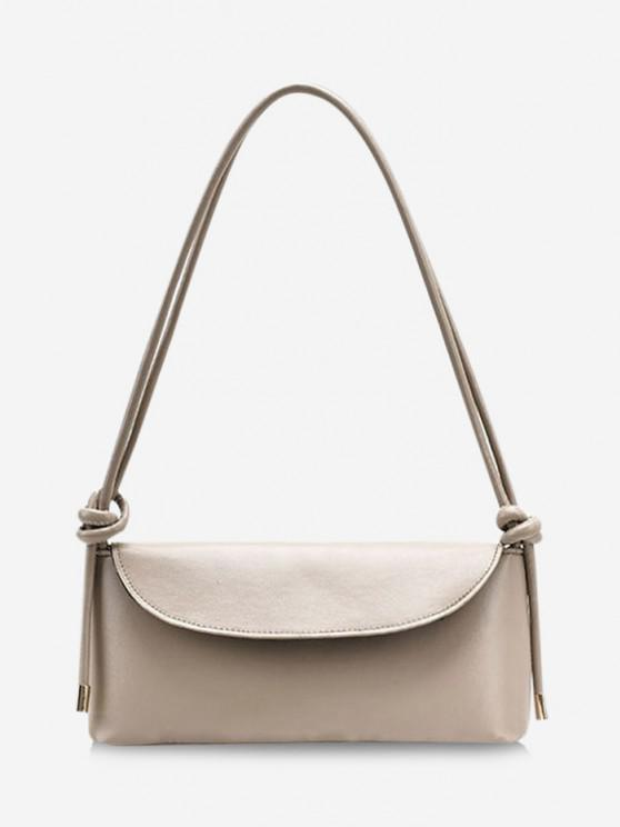 Knotted Strap Cover Shoulder Bag - كاكي