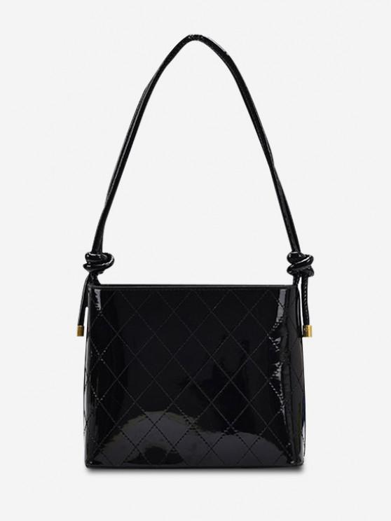 Knotted Strap Rhombus Stitching Shoulder Bag - أسود