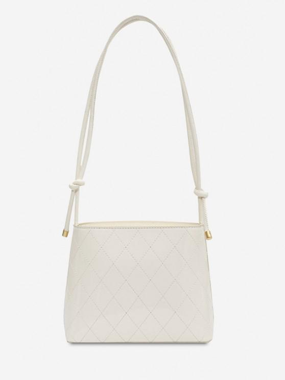 shops Knotted Strap Rhombus Stitching Shoulder Bag - WHITE