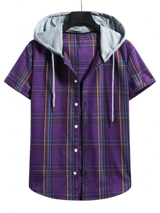 ladies Plaid Pattern Shirt With Colorblock Hood - PURPLE IRIS L