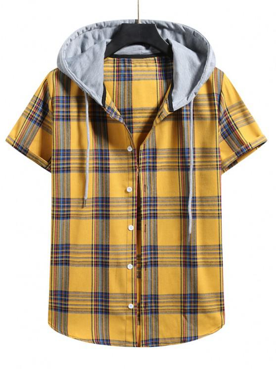 Plaid Pattern Shirt With Colorblock Hood - نحلة صفراء XL