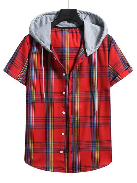 Plaid Pattern Shirt With Colorblock Hood - الحمم الحمراء S