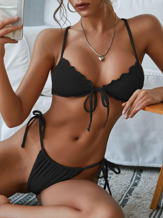 shops ZAFUL Skimpy Textured Ribbed Frilled Ties String Bikini Swimwear - BLACK M
