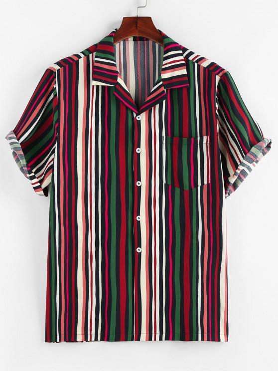 lady ZAFUL Colorful Striped Print Pocket Shirt - RED M