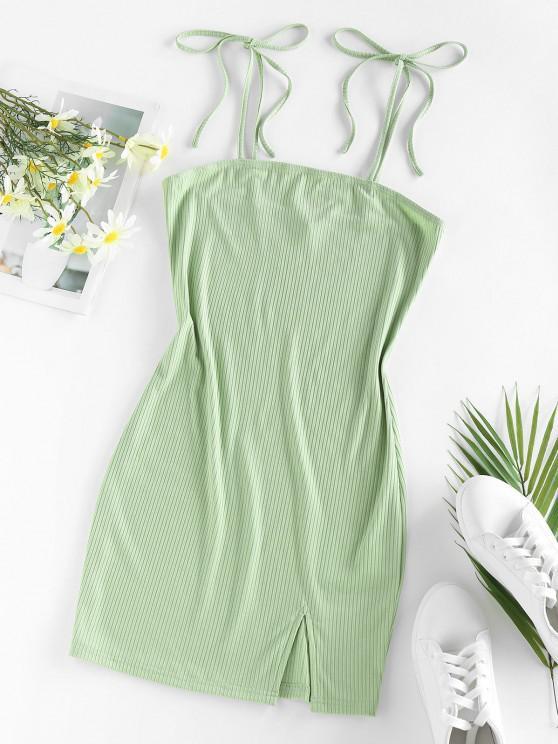 buy ZAFUL Ribbed Tie Shoulder Slit Bodycon Dress - LIGHT GREEN S