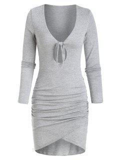 Vestito In Maglia Con Nodo - Grigio Chiaro S