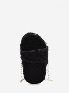 Slipper Shape Fluffy Chain Crossbody Bag - Black