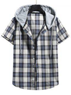 Plaid Colorblock Hood Short Sleeve Shirt - Blue Koi L