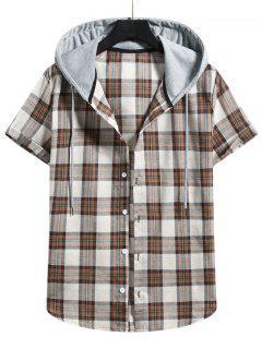 Plaid Colorblock Hood Short Sleeve Shirt - Camel Brown M