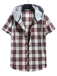 Plaid Colorblock Hood Short Sleeve Shirt - Chestnut Red L