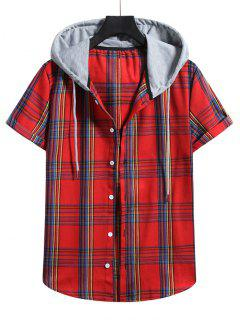 Plaid Pattern Shirt With Colorblock Hood - Lava Red L