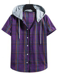 Plaid Pattern Shirt With Colorblock Hood - Purple Iris L