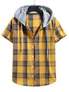 Plaid Pattern Shirt With Colorblock Hood - Bee Yellow L