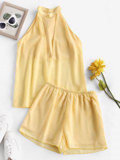 Chiffon Overlay Cutaway Keyhole Back Shorts Set - Yellow S