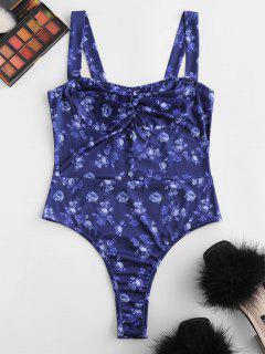 Traje Mono Ajustado Floral Abotonado - Azul S