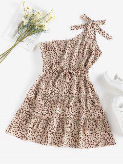 ZAFUL Leopard One Shoulder Flounce Layered Dress - Light Coffee M