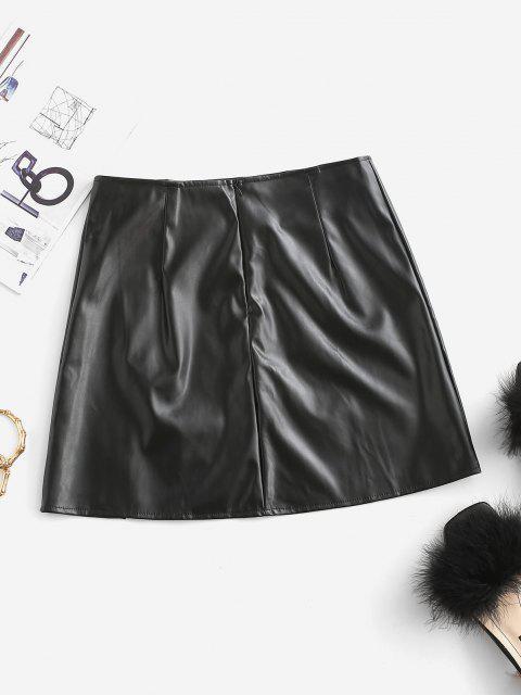lady Slit Faux Leather Mini Skirt - BLACK L Mobile