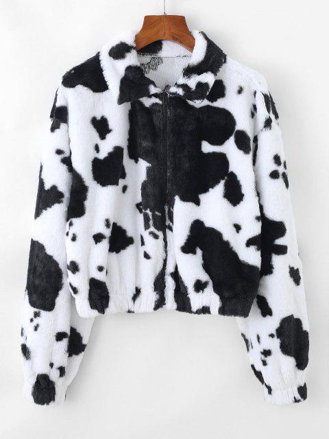 fancy ZAFUL Plush Cow Print Drop Shoulder Zipper Coat - MULTI-A S Mobile