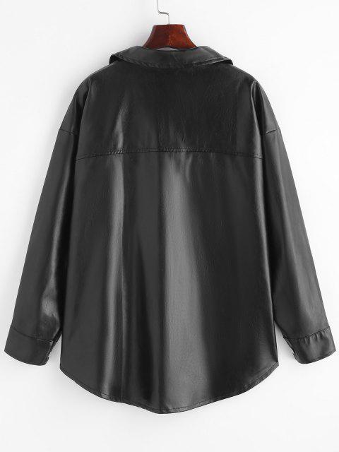trendy Faux Leather Front Pocket Shacket - BLACK S Mobile
