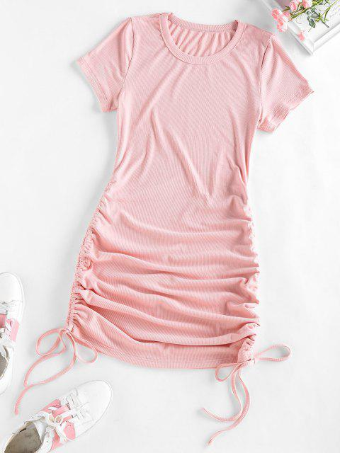 new ZAFUL Ribbed Cinched Bodycon Mini Dress - LIGHT PINK M Mobile