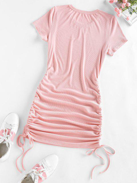 online ZAFUL Ribbed Cinched Bodycon Mini Dress - LIGHT PINK L Mobile